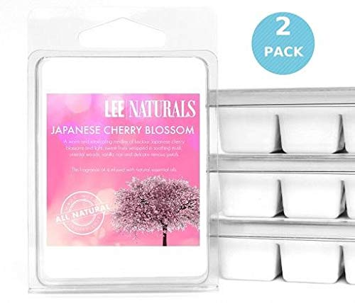 Lee Naturals Classic Collection - (2 Pack) JAPANESE CHERRY BLOSSOM Premium All Natural 6-Piece Soy Wax Melts. Hand Poured Naturally Strong Scented Soy Wax Candle Cubes ()