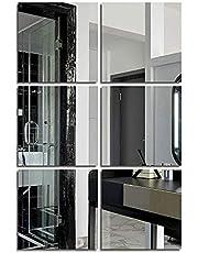 Spiegelstickers, spiegeltegels, zelfklevend, kleefspiegel, spiegelbladen, flexibel, niet glas, wanddecoratie voor badkamer, woonkamer, keuken, kleedcabine (zilver, 20 x 20 cm)
