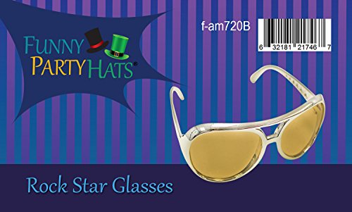 Shades Elvis Aviator 70's Costume By Glasses Hats Gold Funny Sunglasses Party IqOScBSw