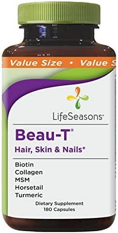 Life Seasons - Beau-T - Hair, Nail, and Skin Supplement - Maintain Healthy Hair and Nail Growth - Supports Clear Skin - Nail Strengthener - Contains Biotin, Collagen, Turmeric, (180 Capsules)