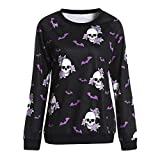 Fashion Ladies Autumn New fashion tops Women Halloween Crew Neck Long Sleeve Terror Bat Skull Print Sweatshirt