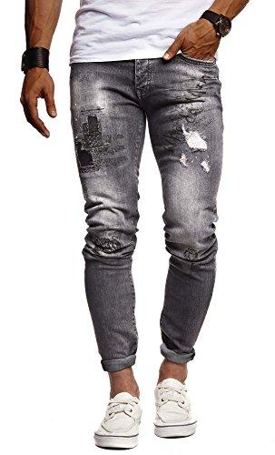 Leif Nelson Herren Jeans Hose Slim Fit Denim Blaue graue Lange Jeanshose für Männer Coole Jungen weiße Stretch Freizeithose Schwarze Cargo Chino Sommer Winter Basic LN9315