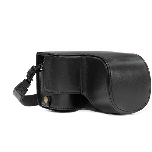 MegaGear Sony Alpha A6500 (up to 16-70mm Lens) Ever Ready Leather Camera Case and Strap, with Battery Access - Black - MG1014