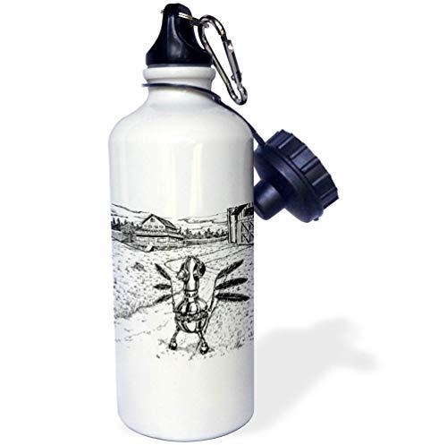 3dRose Travis ECK - Art - A Robot Chicken on The Farm - Flip Straw 21oz Water Bottle (wb_317498_2)]()