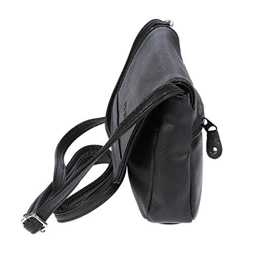 Christian Wippermann® - Bolso cruzados para mujer gris gris 16 x 13 x 4 cm negro
