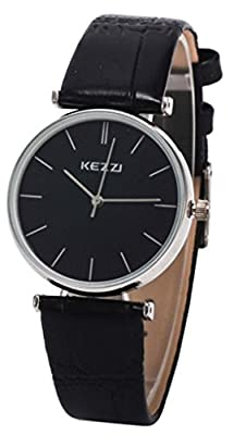 Kezzi Women's Ladies Watches K735 Quartz Analog Leather Wrist Watch Fashion Casual Waterproof Black