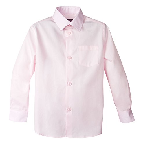 Spring Notion Big Boys' Long Sleeve Dress Shirt 5 Marshmallow Pink ()