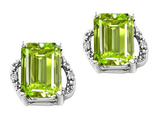 Tommaso Design Emerald Cut 8x6mm Genuine Peridot Earrings 14 kt White ()