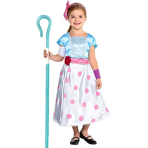 Party City Toy Story 4 Bo Peep Costume for Children, Size 3T to 4T, Includes a Jumpsuit, a Skirt/Cape, a Staff, and More -