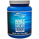 BodyTech Whey Protein Isolate Powder with 25 Grams of Protein per Serving BCAA's Ideal for PostWorkout Muscle Building Growth, Contains Milk Soy Unflavored (1.5 Pound) For Sale