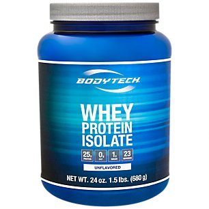 BodyTech Whey Protein Isolate Powder with 25 Grams of Protein per Serving BCAA's Ideal for PostWorkout Muscle Building Growth, Contains Milk Soy Unflavored (1.5 Pound)