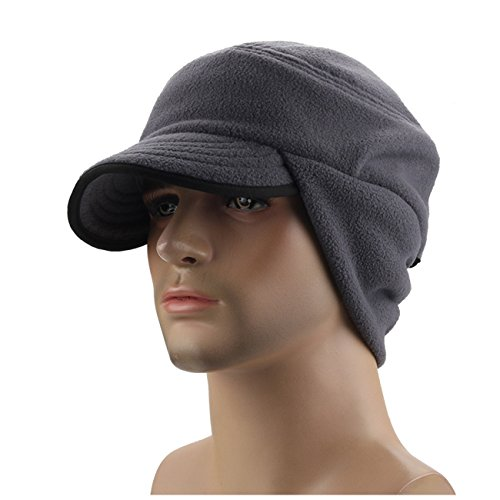 C-Stylish Mens Winter Fleece Earflap Cap With Visor Light Gray, One Size