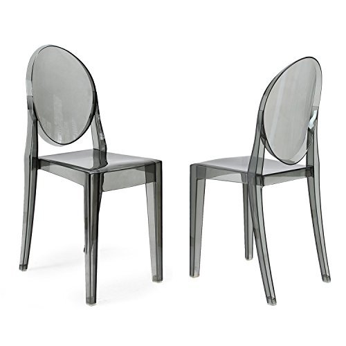 ELEGAN Ghost Side Chair in Transparent Crystal (Set of 2) (Smoky Grey) For Sale