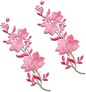 Pink and White Blooms Iron on Heart of Flowers Applique Patch