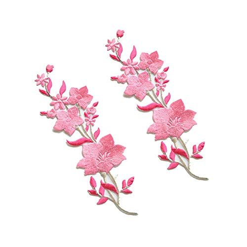 (New Plum Blossom Flower Applique Clothing Embroidery Patch Fabric Sticker Iron On Sew On Patch Craft Sewing Repair Embroidered (Pink) )