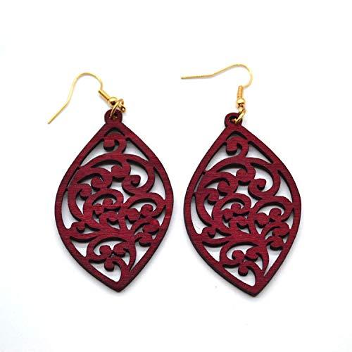 DOZOGU Women Jewelry Wholesale Geometric Natural Wood Earrings For,brown