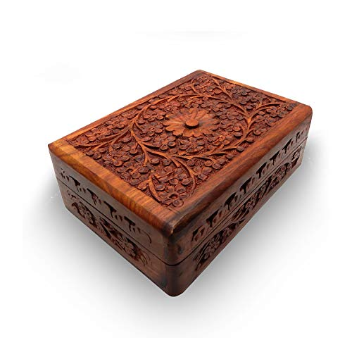 Valentine Day Special Present, Wooden Jewelry Box Carving Work Rectangle Box, Vintage Box, Wooden Keepsake Storage Box, Jewelry Box, Jewelry Trinket Box, Brown Color Size 5.5 X 3.5 Inch