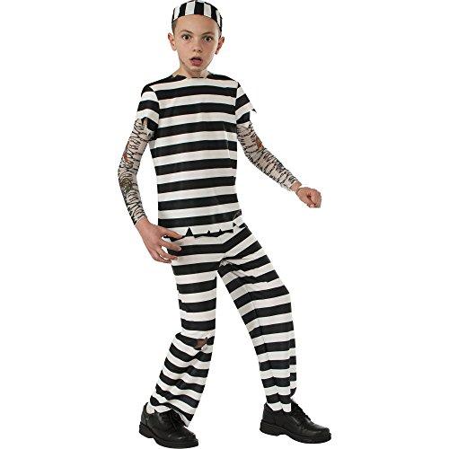 Boys Rubie's Striped Convict Prisoner Jailbird Costume Size L 10-12 (Boys Prisoner Costume)