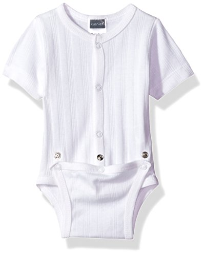 Kushies Baby Infant Classics Diaper Shirt, White, 1m