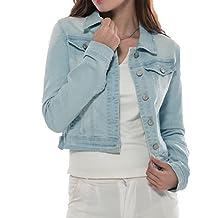 PERHAPS U Women's Denim Jacket Classic Long Sleeves Button Front Jean Tops