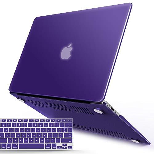 iBenzer – Funda rígida de plástico 2 en 1 de color liso y suave para teclado para MacBook Air, Púrpura Ultra, Macbook...