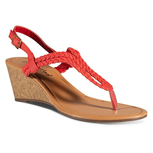 Twisted Women's Riley Braided Gladiator Keyhole Low Wedge Sandal - RILEY11 RED, Size 8