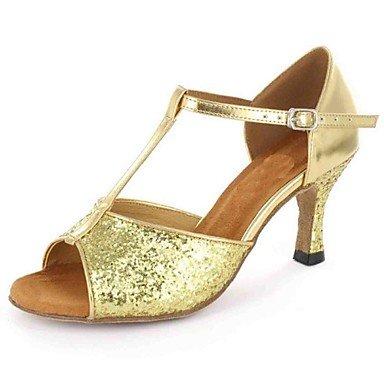 XIAMUO Anpassbare Damen Tanz Schuhe Kunstleder Kunstleder Latein Sandalen angepasste Ferse Praxis Anfänger professionelle Innen- Leistung, Schwarz, uns 4-4,5/EU 34/ UK 2-2