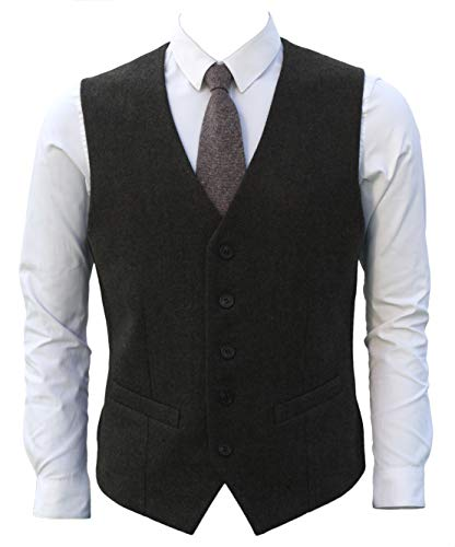 - Ruth&Boaz 2Pockets 5Buttons Wool Herringbone Tweed Business Suit Vest (L, Tweed Olive)