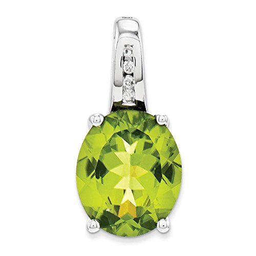 14k White Gold Diamond Green Peridot Oval Pendant Charm Necklace Gemstone Fine Jewelry Gifts For Women For Her