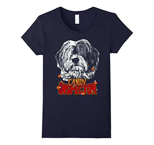 Dog Costumes Old Navy (Womens Old English Sheepdog Candy Inspector Funny Halloween Shirt XL Navy)