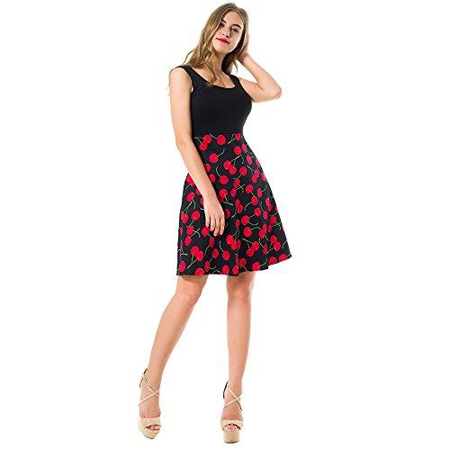 depósito de de vestido Vintag verano Feminino Rockabilly sin boca vestimenta Midi cuello mujer mangas 2017 vestido casual Nueva vestido Cherry La Vestido wtXqfxgqn7