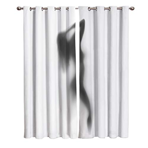 - Prironde Room Darkening Blackout Curtains for Kids Bedroom Livingroom The Sexy Shadow of Women Thermal Insulated Grommet Top Drapes, 40(W) X84(H) InX2