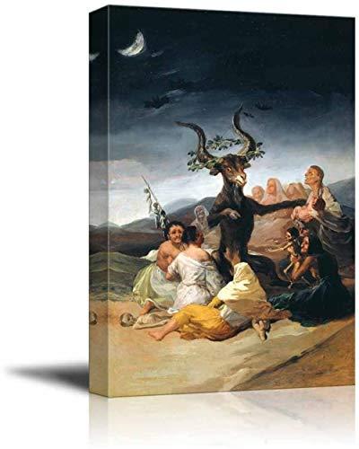 WJWGP Francisco Goya SaBado De Brujas Lienzo Imprimir Pared Arte Famosos Pinturas Romanticismo Poster & Impresiones ClaSico Pared Cuadros Inicio Decoracion 60x80cm No Marco