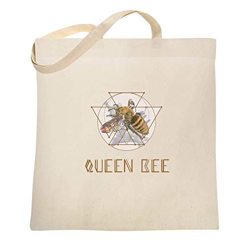 Queen Bee Retro Boss Lady Crown Natural 15x15 inches Canvas Tote Bag ()