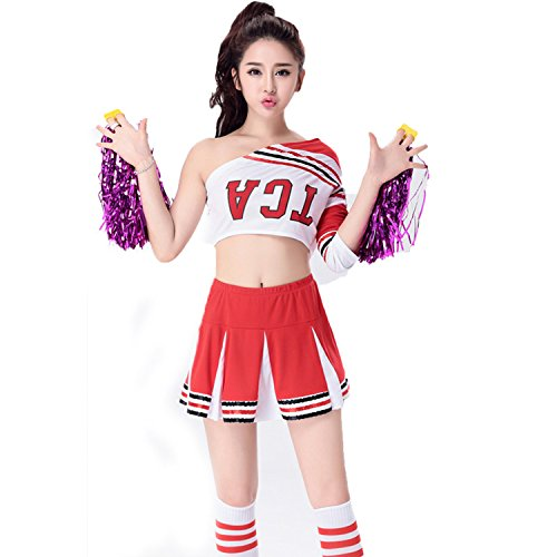 [BeautyXTP Women's Cheerleader Costume Uniform Outfit Football Sport Fancy Dress (S, Red)] (Cheerleader Outfit For Sale)