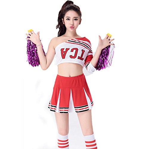 [BeautyXTP Women's Cheerleader Costume Uniform Outfit Football Sport Fancy Dress (S, Red)] (Football Player Halloween Costume Women)