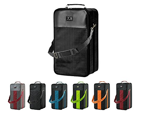 Extra Large Wig Travel Box with Top Handle, Shoulder Strap and Double Zipper, Carrying Case with Removable Head-Holding Base - Black Grid Design - by Adolfo Design