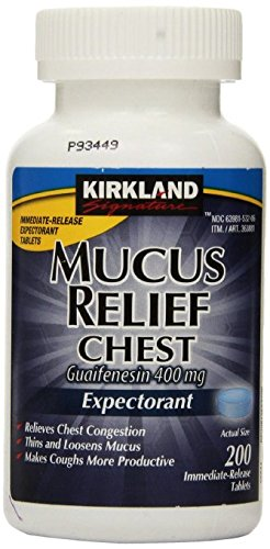 Kirkland Signature Mucus Relief Chest Guaifenesin 400 mg Expectorant - 200 Tablets (Pack of 2, 400 total) ()