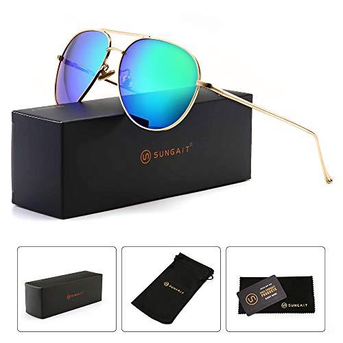 SUNGAIT Women's Lightweight Oversized Aviator sunglasses - Mirrored Polarized Lens (Light-Gold Frame/Green Mirror Lens, 60)1603JKLV ()
