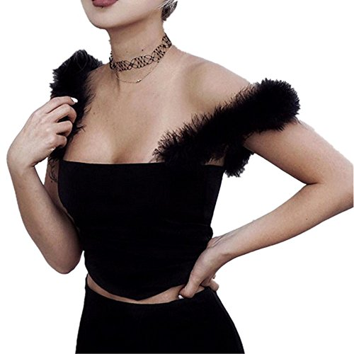malianna Women Sexy Backless Feathers Strap Camis Sleeveless Crop Top Slim Black Bustier Camisole T-Shirts (S)