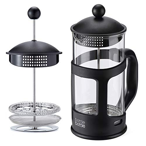 French Press Coffee and Tea Maker,34oz Large Comfortable Handle Glass Protecting Durable Black Shell With Reusable Stainless Steel Filter and Heat Resistant Borosilicate Glass
