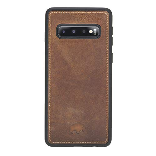 360 Degree Leather Snap Case Back Cover Designed for Samsung Galaxy S10 (6.1 inch), Burkley Case Hand-Wrapped in Premium Turkish Leather (Antique Golden Brown) ()