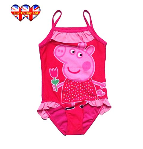 [Baby Girls Swimsuit,Peppa Pig Swimsuit,Adorable Peppa Pig One Piece Swimsuit With Mesh Tutu! ((5-7 Years /52X25cm/20.4