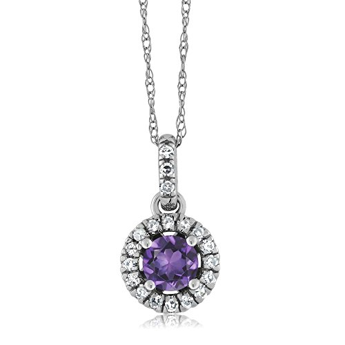 18K White Gold Diamond Halo Solitaire Pendant with 0.34 Ct Round Purple Amethyst by Gem Stone King