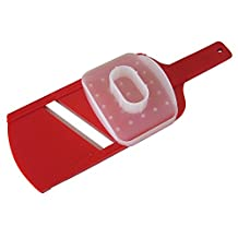 Hand-Held Mandoline Slicer. Ultra Thin Cucumber Potato Apple & Food Cutter. Small BPA free Mandolin Fits any Kitchen. Dishwasher Safe. Ceramic Blades Cut Vegetables like Professional. Hand Guard. Red by Kensho Kitchen