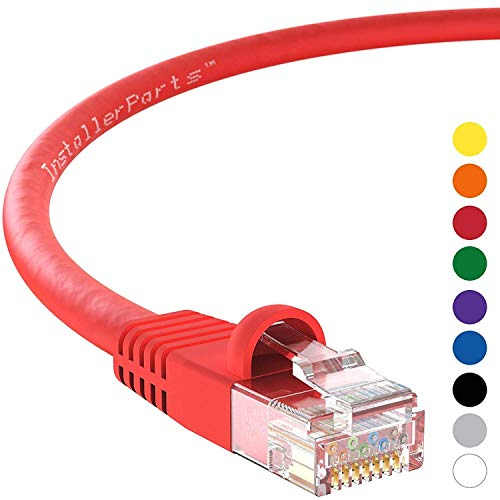 InstallerParts Ethernet Cable CAT6 Cable UTP Booted 1 FT - Red - Professional Series - 10Gigabit/Sec Network/High Speed Internet Cable, 550MHZ