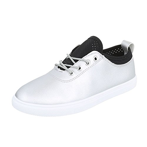 Ital-Design Sneakers Low Damenschuhe Schnürsenkel Freizeitschuhe Silber 472-Y