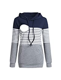 Doublelift Women's Maternity Nursing Hoodie Color Block Striped Zipper Breastfeeding Clothes