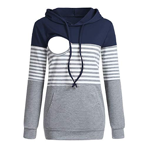 HKDGID Women's Maternity Nursing Hoodie Color Block Striped Zipper Breastfeeding Clothes Navy