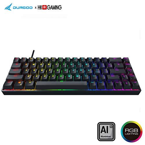Durgod Hades 68 RGB Mechanical Gaming Keyboard – 65% Layout – OEM Profile – NKRO – USB Type C – Aluminium Chassis (Cherry Black, Black)